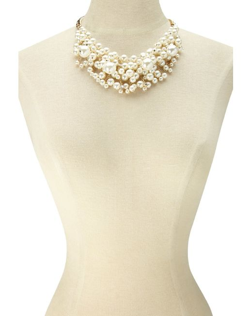 Forever 21 | Metallic Faux Pearl Chain Statement Necklace | Lyst