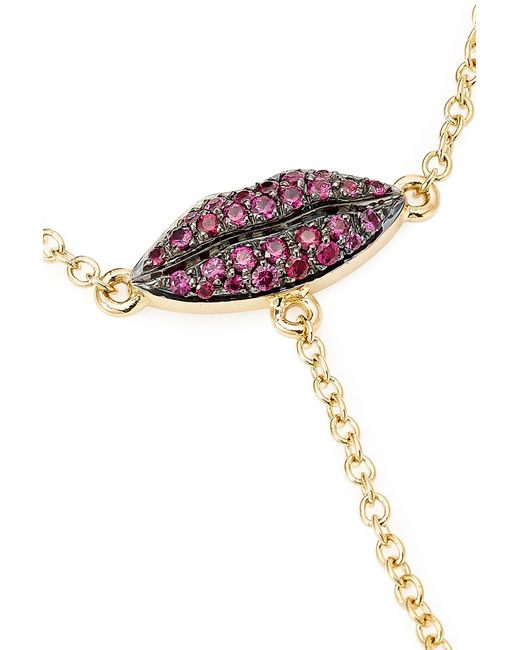 Delfina Delettrez | Metallic 18kt Gold Bracelet And Ring Chain With Rubies | Lyst