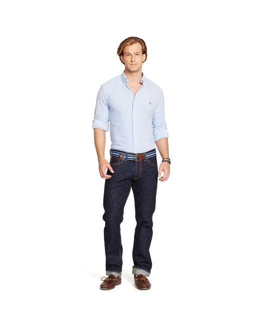 Polo Ralph Lauren | Blue Striped Knit Oxford Shirt for Men | Lyst