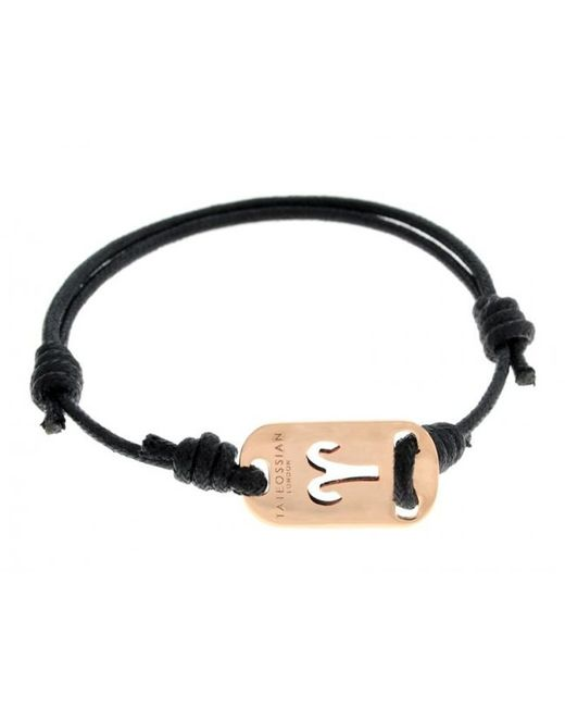 Tateossian | Pink Zodiac 18k Rose Gold Aries Black Waxed Cord Bracelet for Men | Lyst