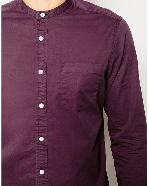 Asos Lightweight Shirt In Twill With Grandad Collar In
