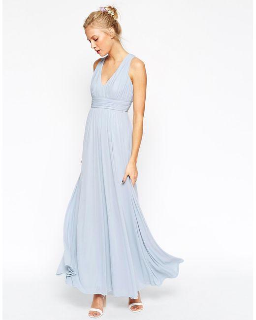 Simple Wedding Dresses Asos: Asos Wedding V Neck Twist Back Maxi Dress In Blue