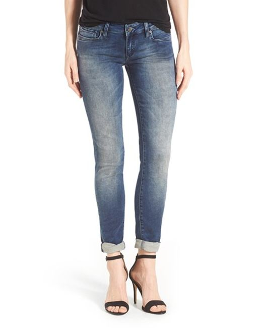 mavi jeans 39 serena 39 low rise french terry skinny jeans in. Black Bedroom Furniture Sets. Home Design Ideas
