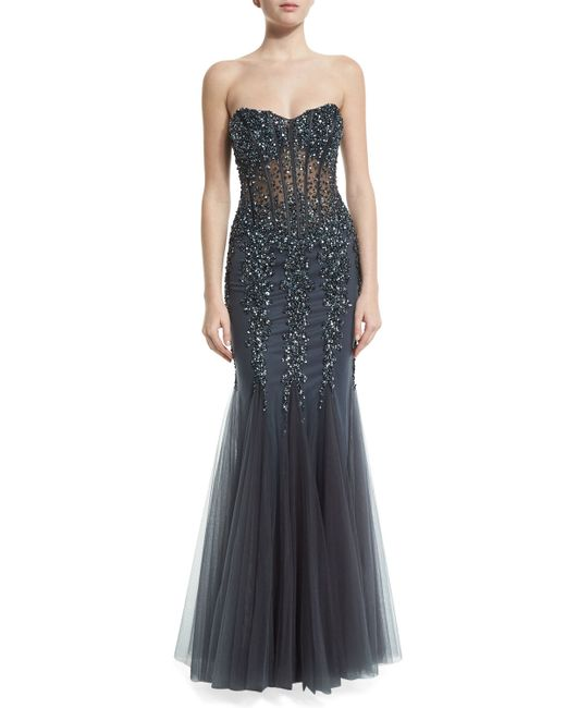 Jovani strapless sweetheart beaded mermaid gown in gray for Neiman marcus dresses for wedding guest