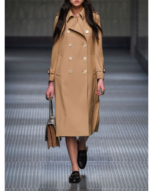 Gucci Pleated Back Wool Trench Coat In Beige Lyst
