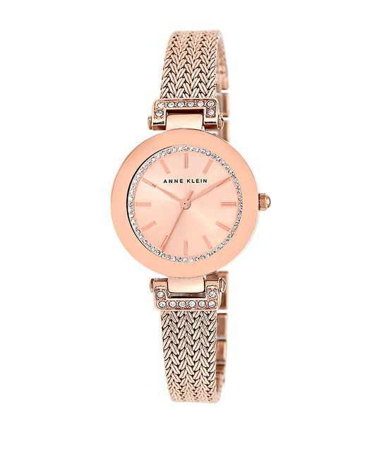 Anne klein rose goldtone mesh bracelet watch in pink rose gold lyst for Anne klein rose gold watch set