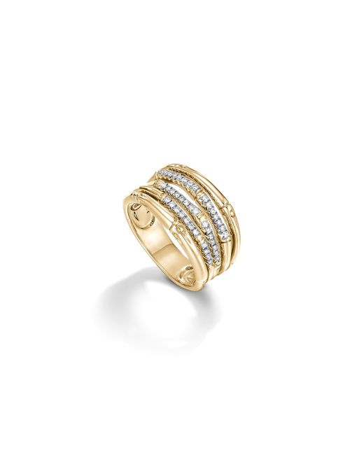 John Hardy | Metallic Bamboo 18k Yellow Gold Diamond Pave Wide Ring | Lyst