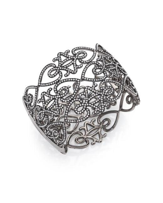 Adriana Orsini | Gray Statement Pavé Crystal Gate Cuff Bracelet/gunmetal-tone | Lyst