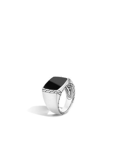 John Hardy   Metallic Classic Chain Signet Ring With Black Jade   Lyst