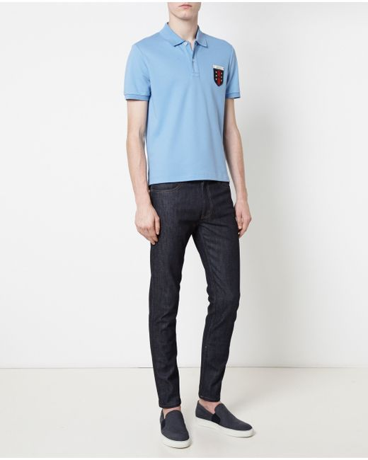 Gucci | Blue Short-sleeved Logo Polo Shirt for Men | Lyst
