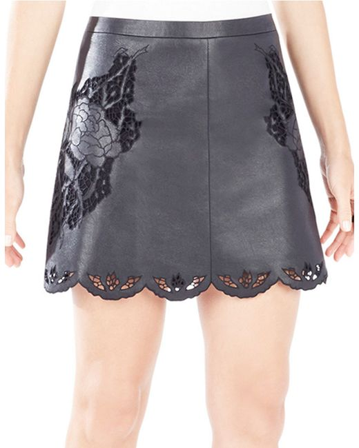 BCBGMAXAZRIA | Black Jenhifer Embroidered Faux-leather Mini Skirt | Lyst