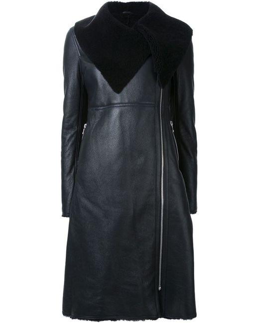 Scanlan Theodore Shearling Peplum Coat In Black