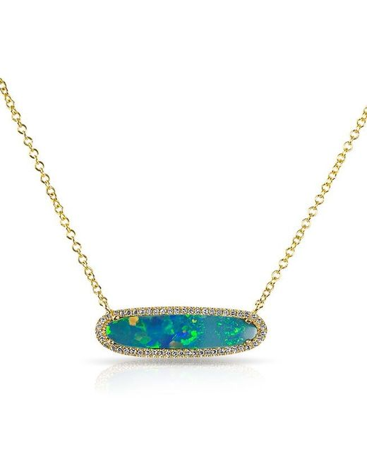 Anne Sisteron   Blue 14kt Yellow Gold Organic Oval Opal Diamond Necklace   Lyst
