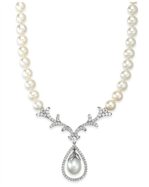 Arabella | White Cultured Freshwater Pearl (8mm) And Swarovski Zirconia Necklace In Sterling Silver | Lyst