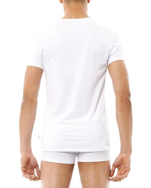 Derek rose jack pima cotton crew neck t shirt in white for for Pima cotton crew neck t shirt