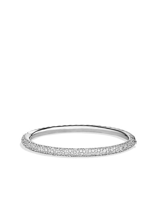 David Yurman | Metallic Limited Edition Pave Cable Bangle With Diamonds In 18k White Gold | Lyst