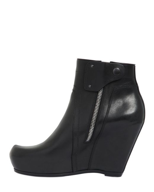 rick owens 80mm leather wedge ankle boots in black lyst