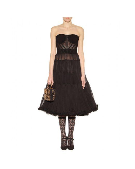 Dolce Amp Gabbana Net Tulle Dress In Black Lyst