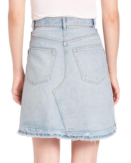wang pleated bleached denim mini skirt in blue