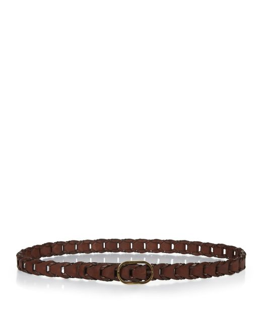 laurent woven leather belt in brown for lyst