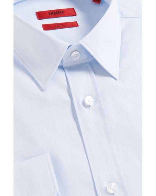 HUGO | Blue Slim-fit Shirt In Cotton: 'elisha' for Men | Lyst