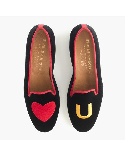 Stubbs wootton velvet slippers in black heart for J crew bedroom slippers