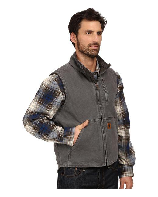Carhartt Sandstone Mock Neck Vest In Gray For Men Lyst