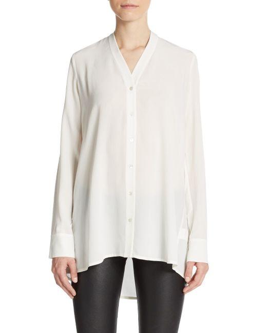 White Silk V-Neck Blouse 117