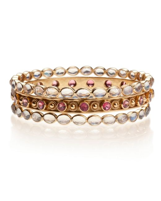 Emily & Ashley | Pink Rubylite and Flower Bangle | Lyst