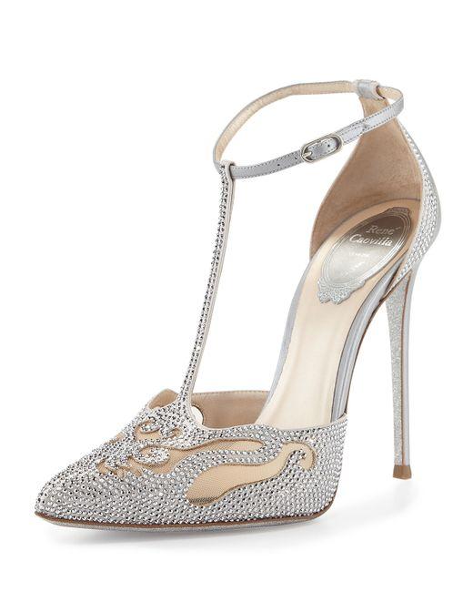 Rene Caovilla Crystal T Strap Pointed Toe Pump In Silver