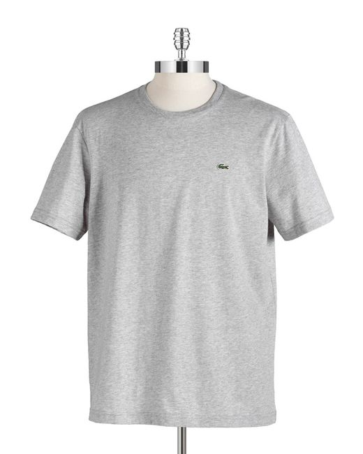 Lacoste | Gray Cotton Crewneck Tee for Men | Lyst