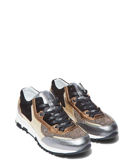 Lanvin Women S Metallic Leather Panelled Running Sneakers