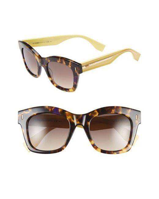 Fendi   Brown 50mm Retro Sunglasses   Lyst