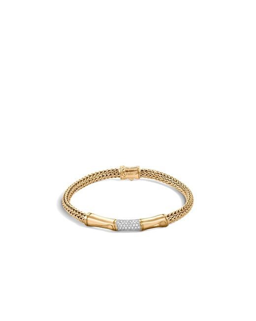 John Hardy | Metallic Bamboo 18k Yellow Gold Diamond Pavé Station Bracelet | Lyst