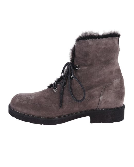 progetto suede combat boot in brown grey lyst