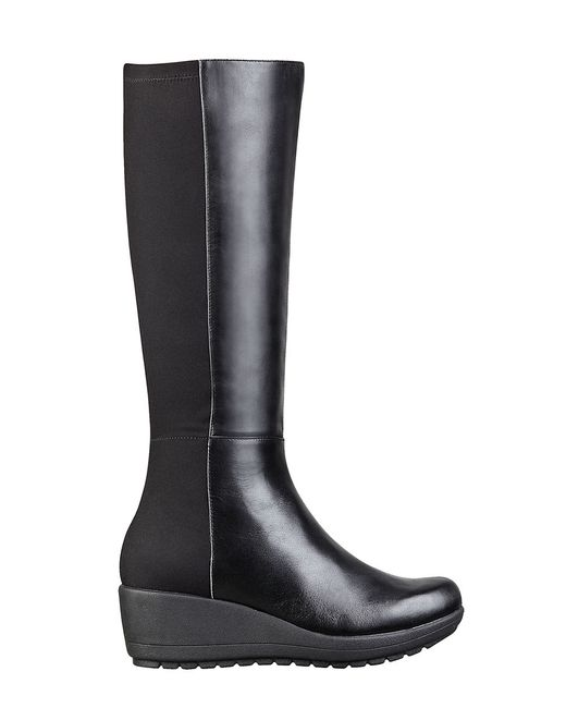 easy spirit carlsy leather and stretch boots in black lyst