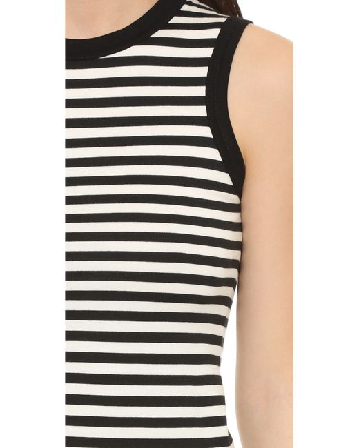 R13 Baby Muscle Tee In Black Black White Stripe Save