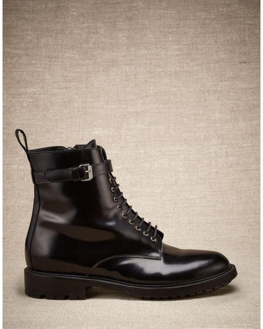 Belstaff | Finley Combat Boot Women's Black High Shine Calf Leather | Lyst