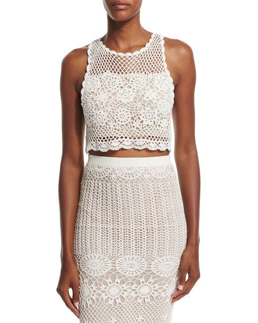 Crochet Crop Top : ... + olivia Izzie Sleeveless Crochet Crop Top in White (CREAM) Lyst