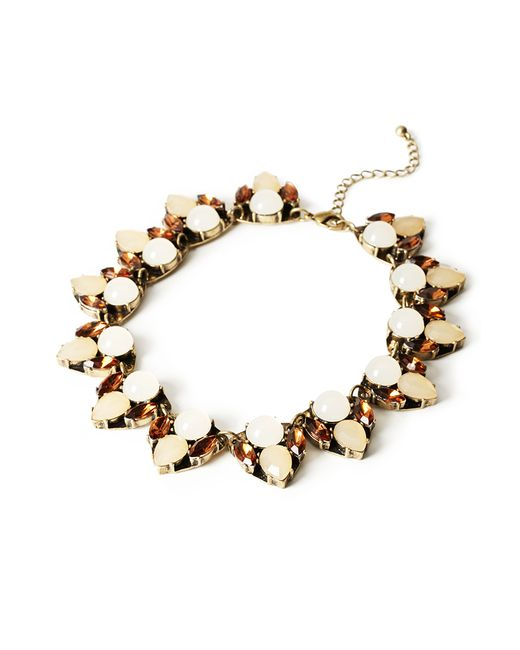 forever 21 faux gemstone necklace in beige b gold