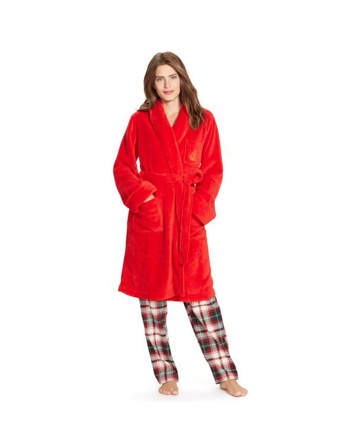 Pink Pony | Red Plush Shawl-collar Robe | Lyst