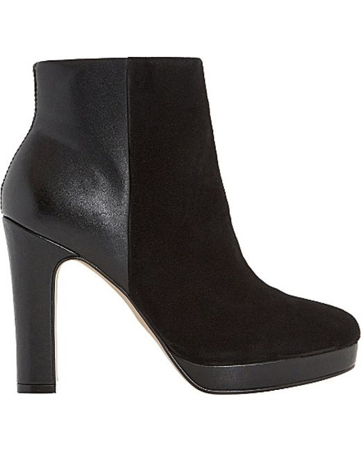 Dune | Black Olympe Suede And Leather Heeled Ankle Boots | Lyst