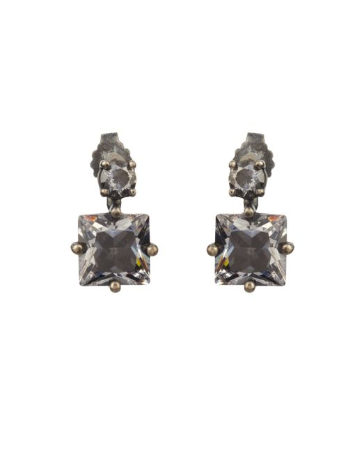 Bottega Veneta   Metallic Cubic Zirconia And Silver Earrings   Lyst