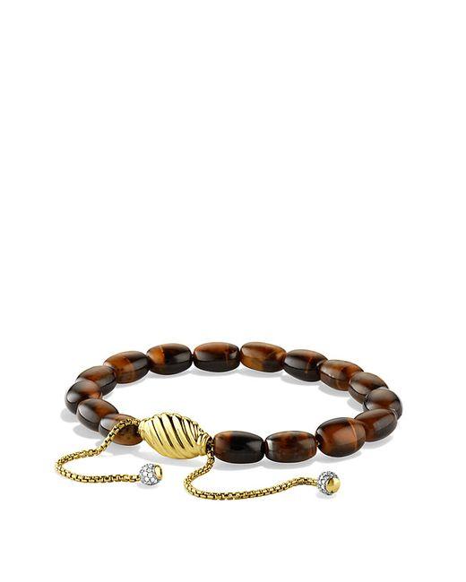 David Yurman | Yellow Spiritual Bead Bracelet With Tiger's Eye And Diamonds In 18k Gold | Lyst