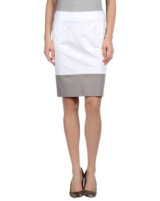 peserico knee length skirt in white lyst
