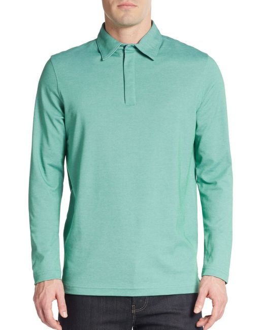 Saks Fifth Avenue | Green Performance Oxford Polo for Men | Lyst