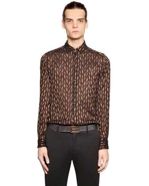 Etro diamond jacquard silk blend voile shirt in black for for Diamond and silk t shirts