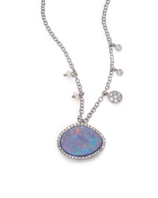 Meira T | Blue Boulder Opal, Diamond & 14k White Gold Pendant Necklace | Lyst