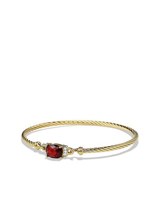 David Yurman | Yellow Petite Wheaton Bracelet With Garnet And Diamonds In 18k Gold | Lyst