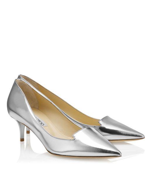Jimmy Choo | Metallic Allure Silver Mirror Leather Pointy Toe Pumps | Lyst